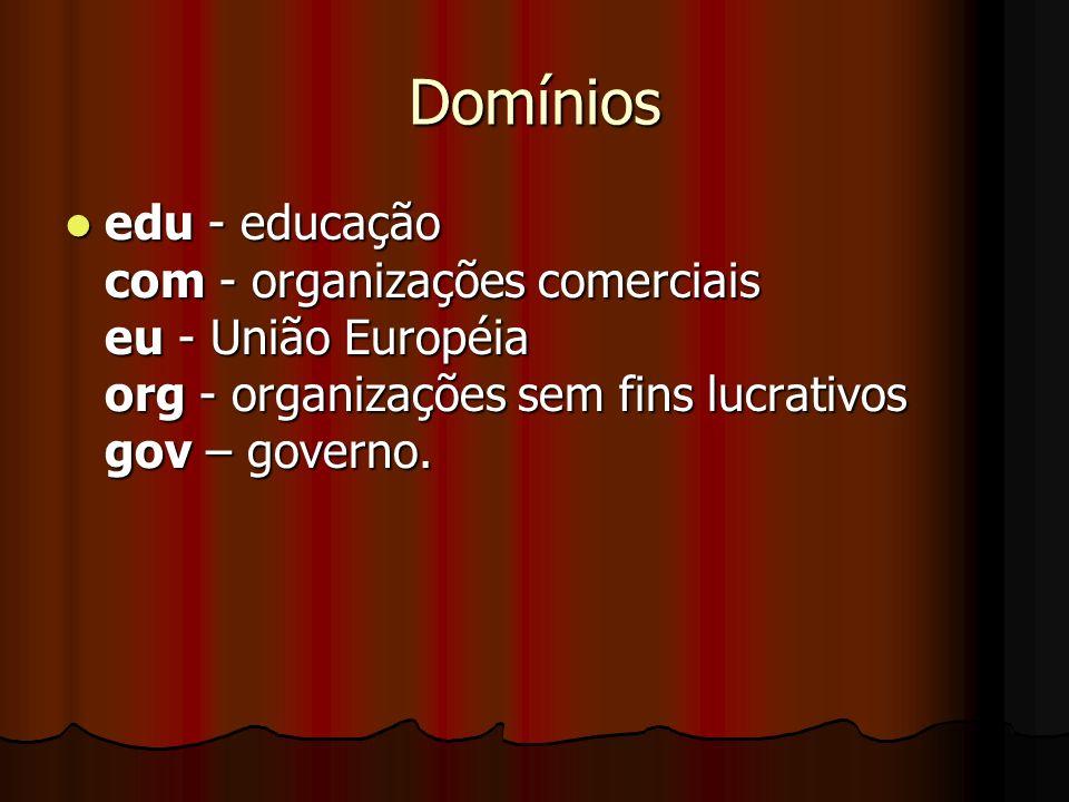 Domínios edu - educação com - organizações comerciais eu - União Européia org - organizações sem fins lucrativos gov – governo.