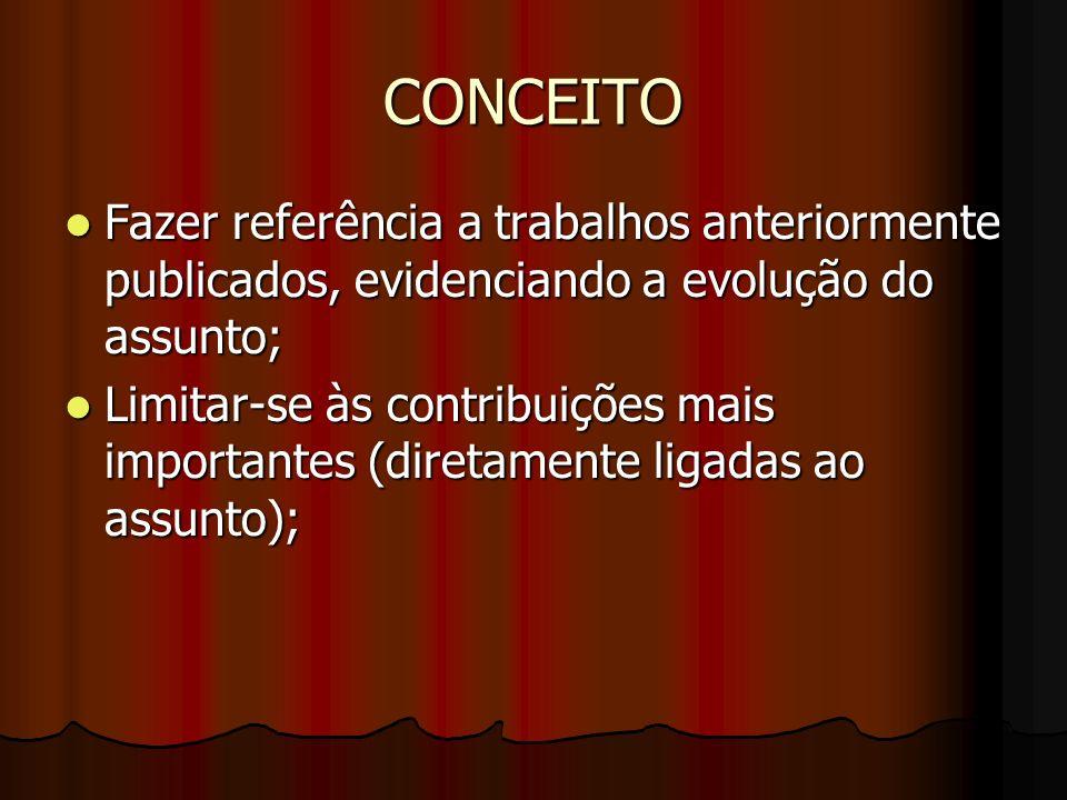 CONCEITO Fazer referência a trabalhos anteriormente publicados, evidenciando a evolução do assunto;