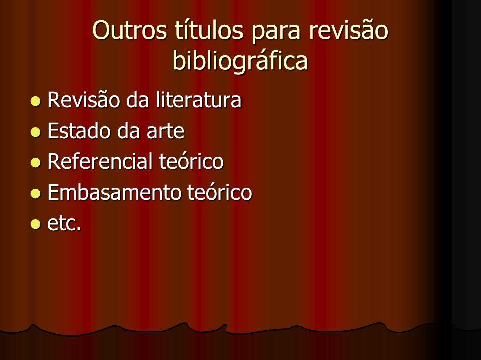 Outros títulos para revisão bibliográfica