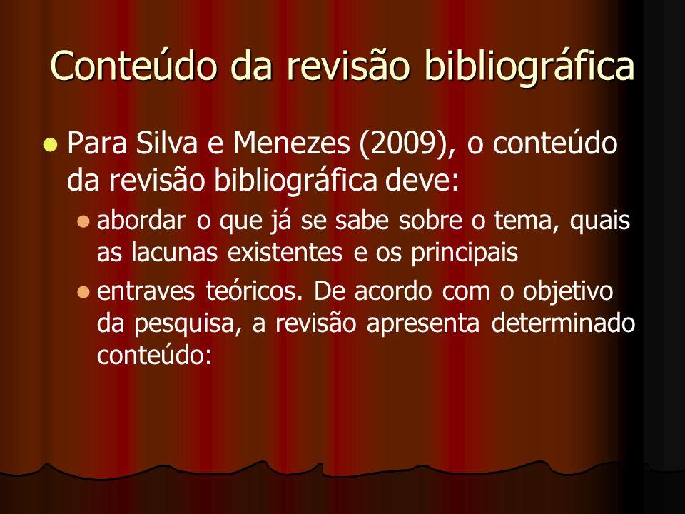 Conteúdo da revisão bibliográfica