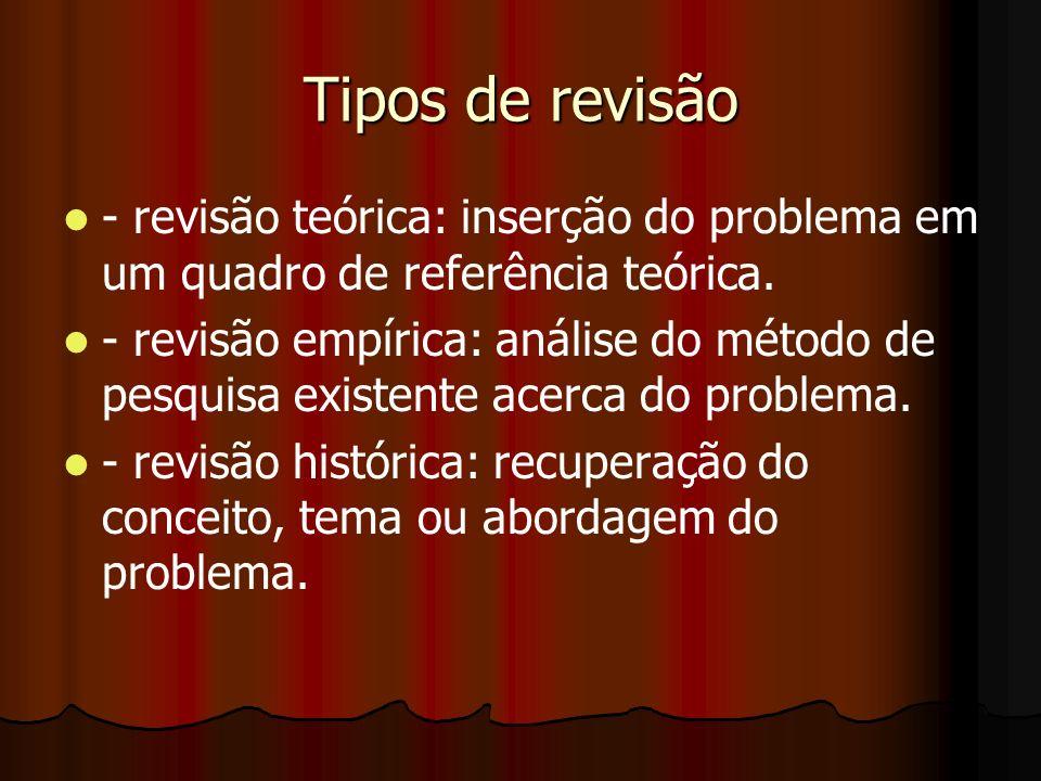 Tipos de revisão- revisão teórica: inserção do problema em um quadro de referência teórica.
