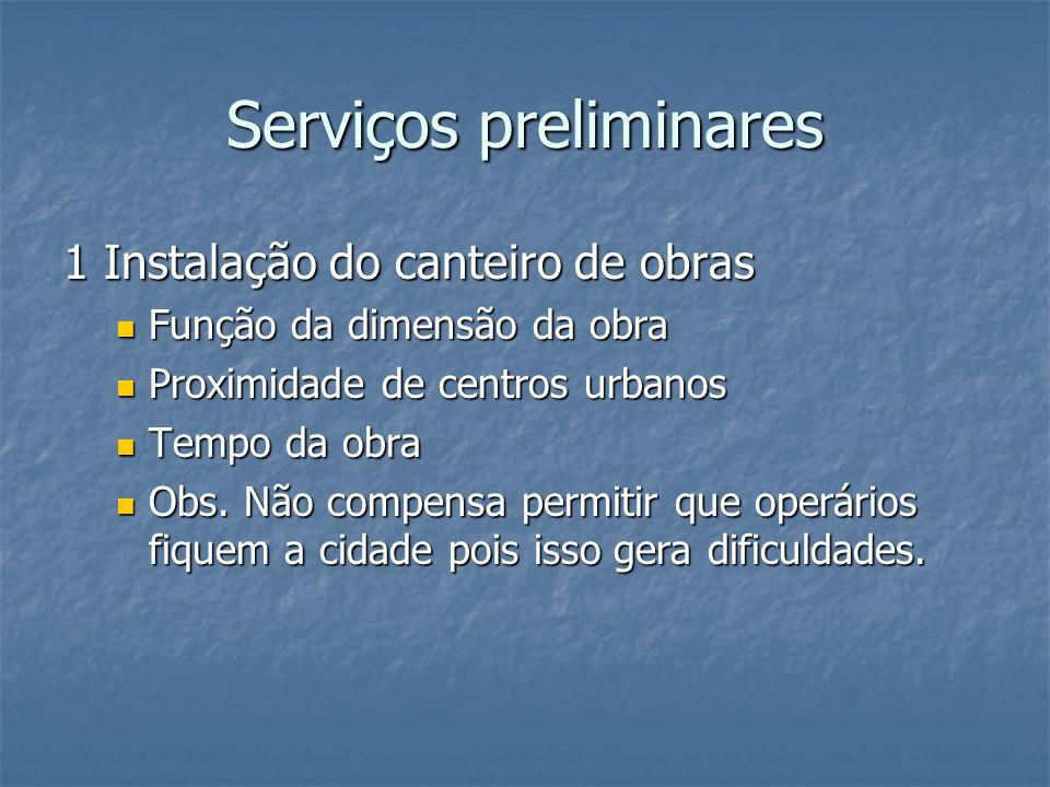 Serviços preliminares