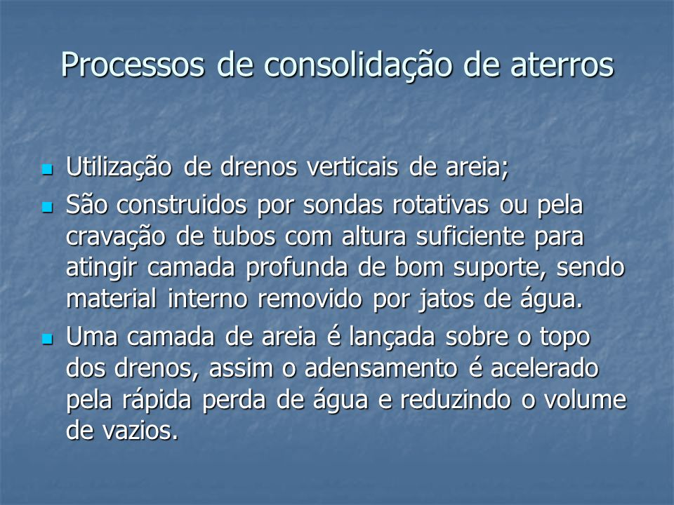 Processos de consolidação de aterros