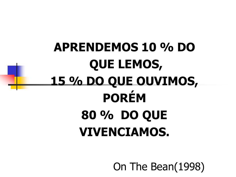 APRENDEMOS 10 % DO QUE LEMOS, 15 % DO QUE OUVIMOS, PORÉM.