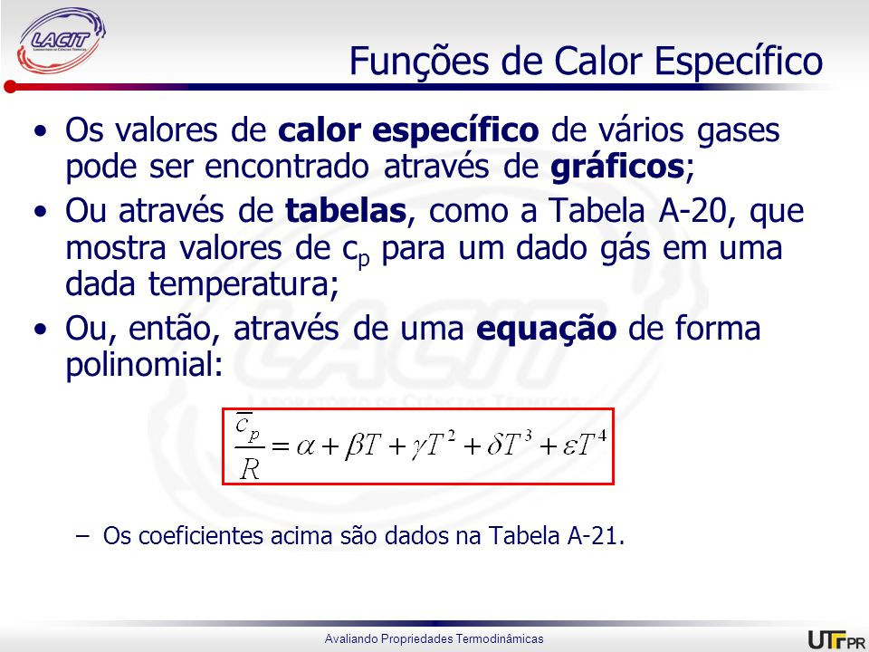 Funções de Calor Específico
