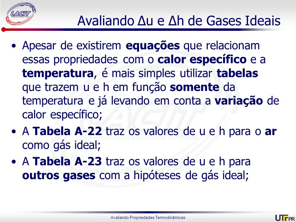 Avaliando Δu e Δh de Gases Ideais