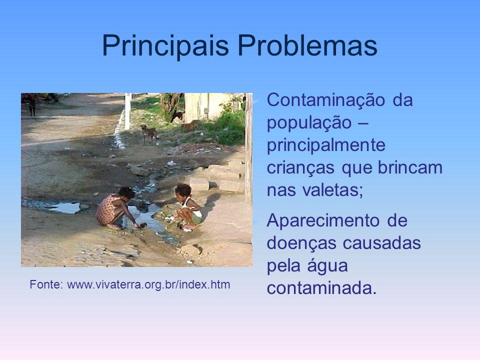 Principais Problemas Contaminação da população – principalmente crianças que brincam nas valetas;