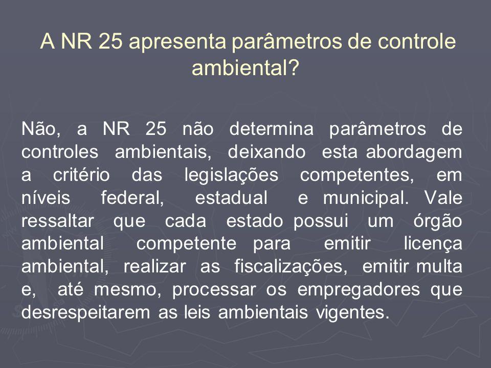 A NR 25 apresenta parâmetros de controle ambiental
