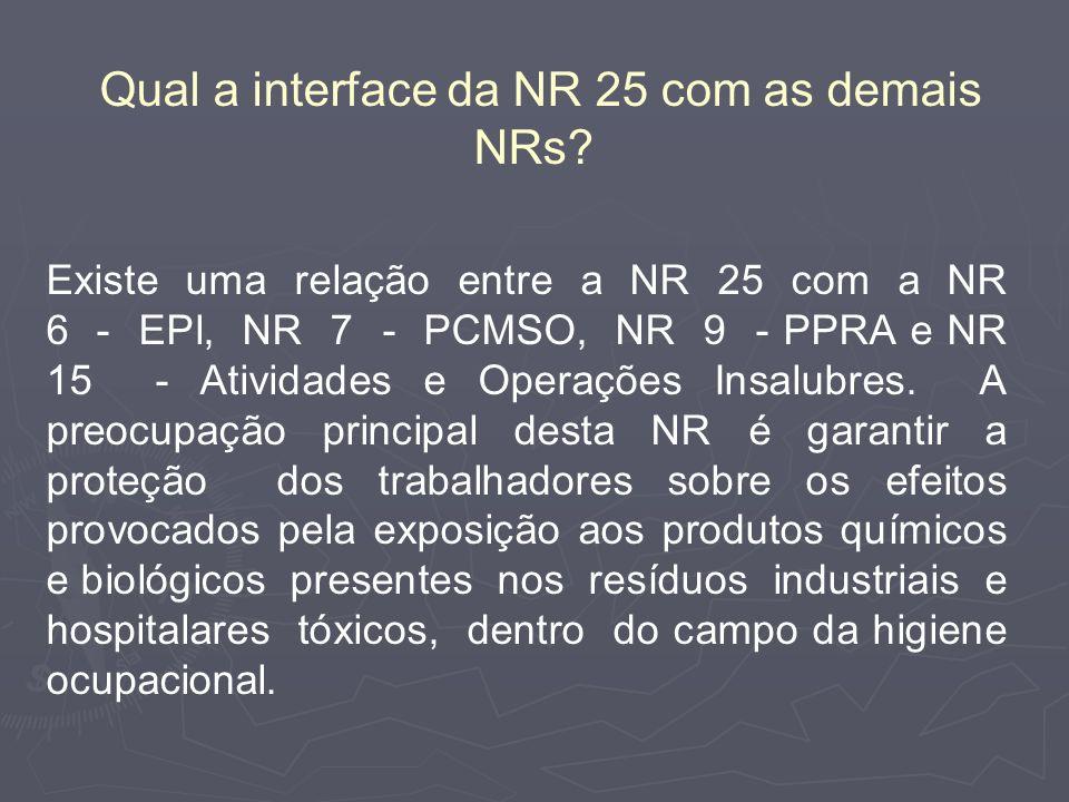 Qual a interface da NR 25 com as demais NRs