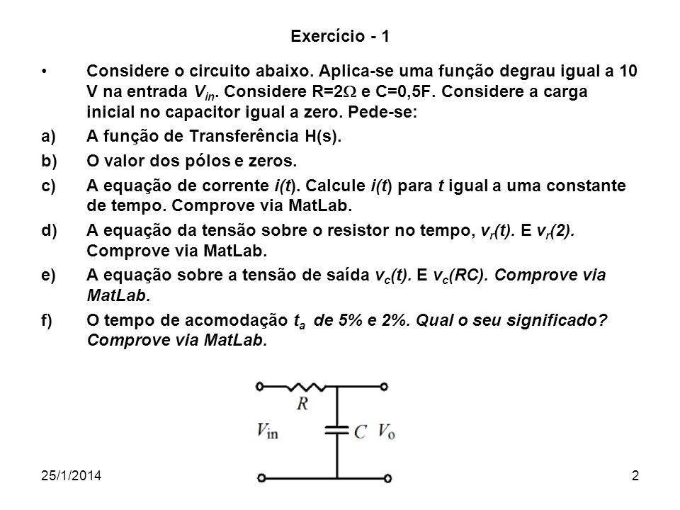 A função de Transferência H(s). O valor dos pólos e zeros.