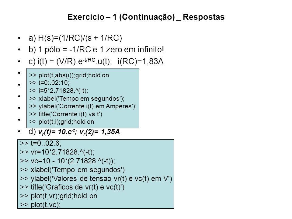Exercício – 1 (Continuação) _ Respostas