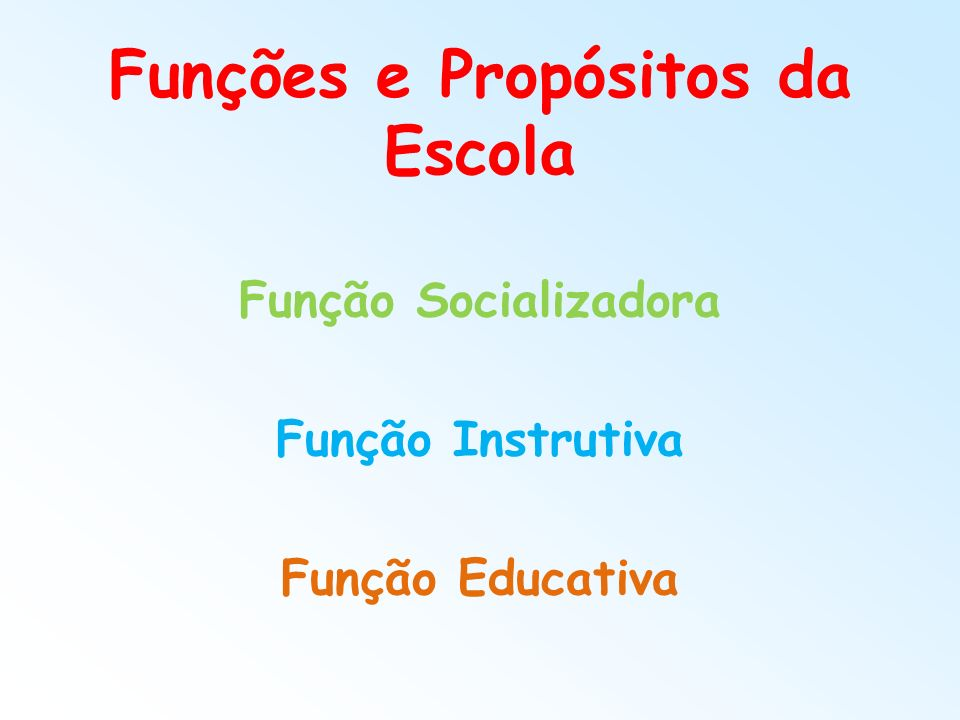 Funções e Propósitos da Escola
