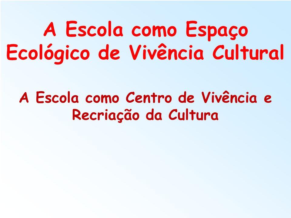 A Escola como Espaço Ecológico de Vivência Cultural