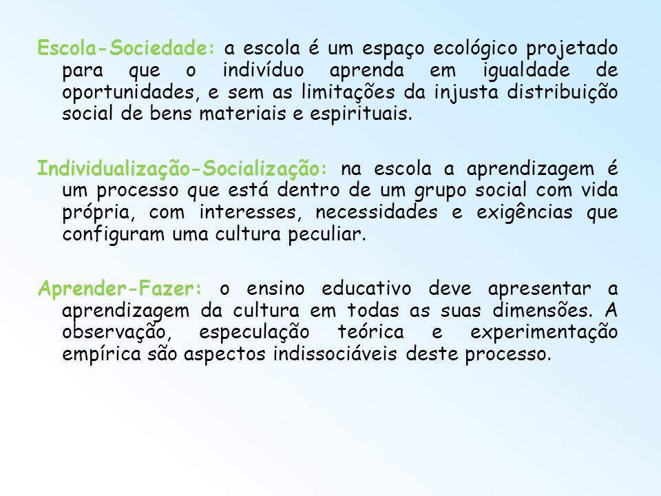 Escola-Sociedade: a escola é um espaço ecológico projetado para que o indivíduo aprenda em igualdade de oportunidades, e sem as limitações da injusta distribuição social de bens materiais e espirituais.