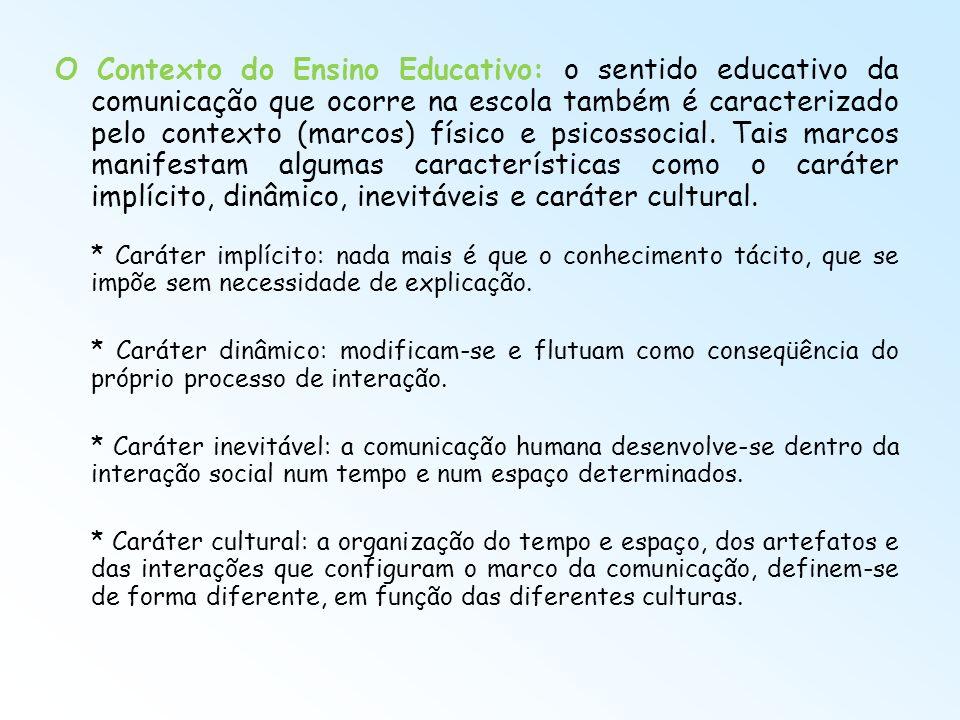 O Contexto do Ensino Educativo: o sentido educativo da comunicação que ocorre na escola também é caracterizado pelo contexto (marcos) físico e psicossocial. Tais marcos manifestam algumas características como o caráter implícito, dinâmico, inevitáveis e caráter cultural.