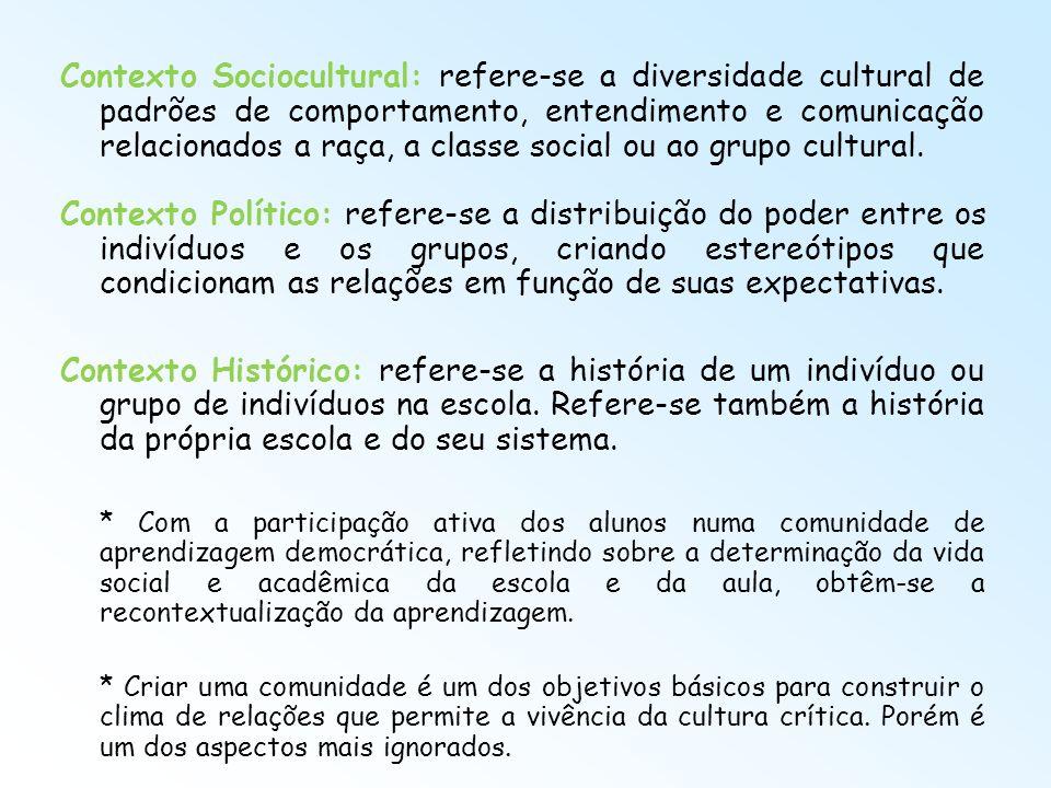 Contexto Sociocultural: refere-se a diversidade cultural de padrões de comportamento, entendimento e comunicação relacionados a raça, a classe social ou ao grupo cultural.