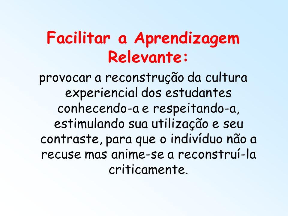 Facilitar a Aprendizagem Relevante: