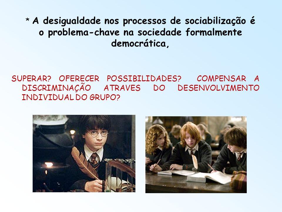 * A desigualdade nos processos de sociabilização é o problema-chave na sociedade formalmente democrática,