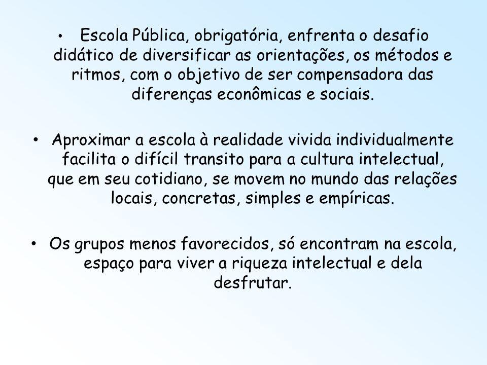 Escola Pública, obrigatória, enfrenta o desafio didático de diversificar as orientações, os métodos e ritmos, com o objetivo de ser compensadora das diferenças econômicas e sociais.