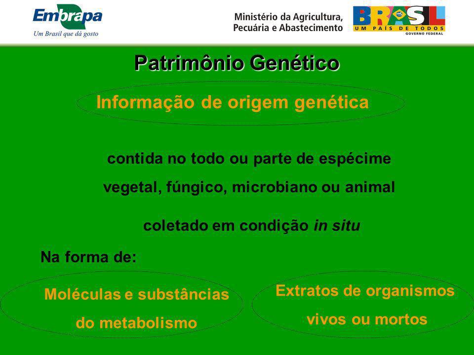 Patrimônio Genético Informação de origem genética