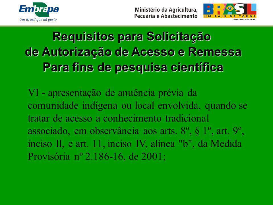 Requisitos para Solicitação de Autorização de Acesso e Remessa