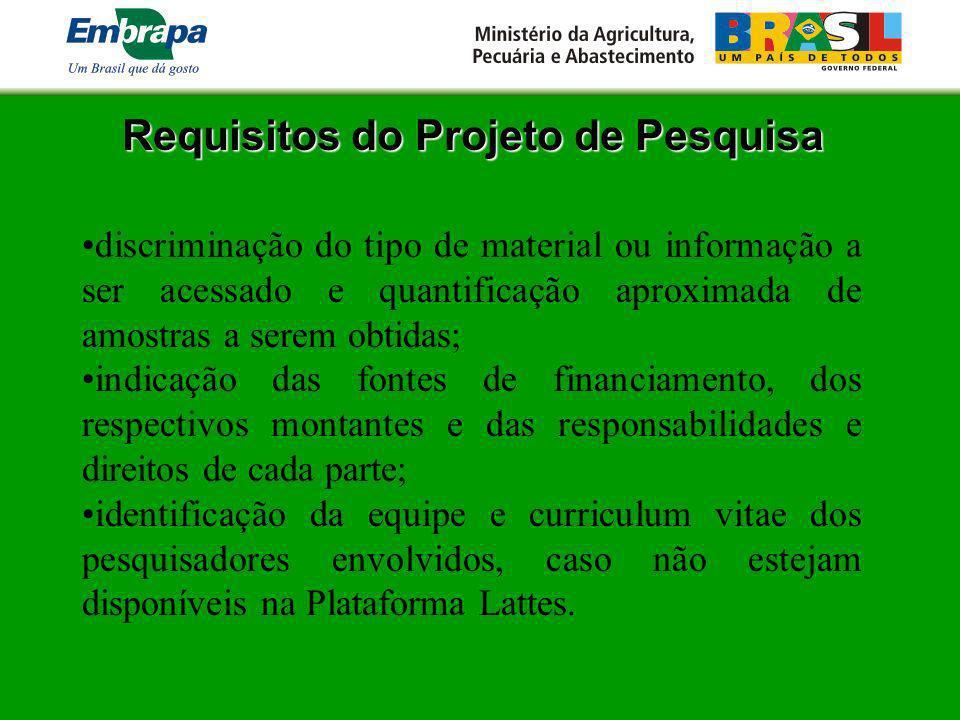 Requisitos do Projeto de Pesquisa
