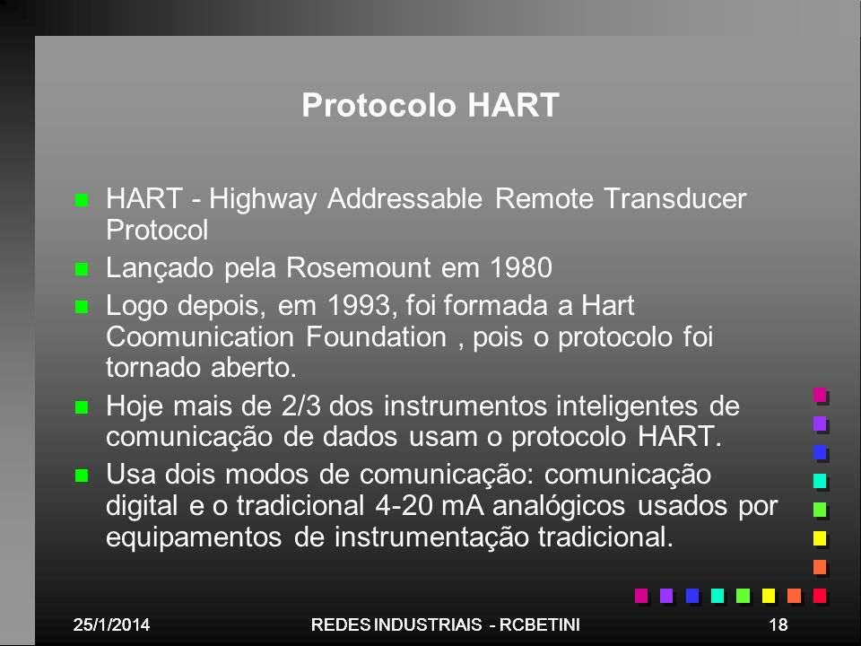 Protocolo HART HART - Highway Addressable Remote Transducer Protocol
