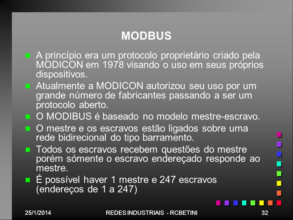 MODBUSA princípio era um protocolo proprietário criado pela MODICON em 1978 visando o uso em seus próprios dispositivos.