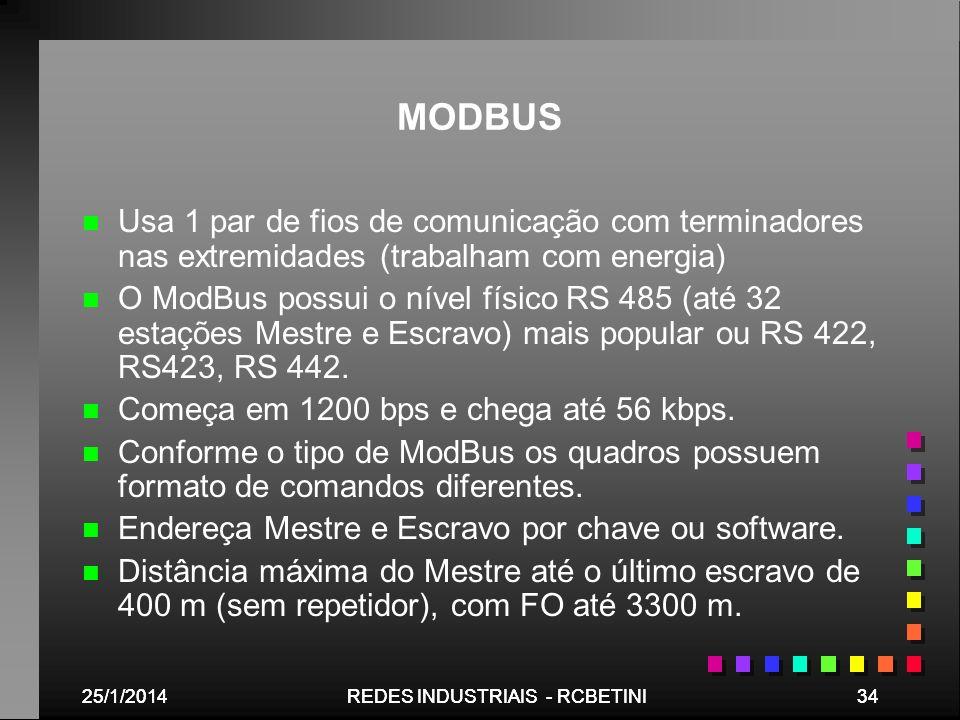 MODBUSUsa 1 par de fios de comunicação com terminadores nas extremidades (trabalham com energia)