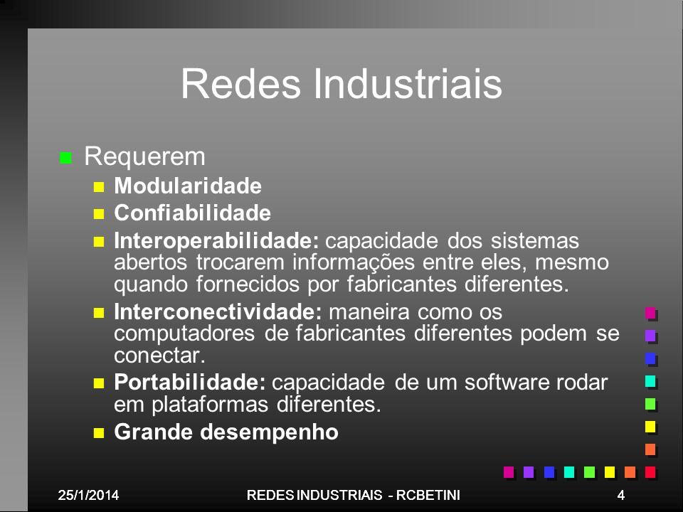 Redes Industriais Requerem Modularidade Confiabilidade