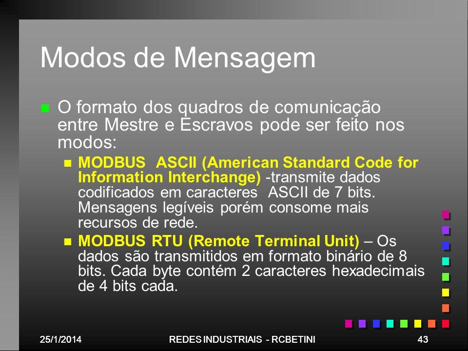 Modos de MensagemO formato dos quadros de comunicação entre Mestre e Escravos pode ser feito nos modos: