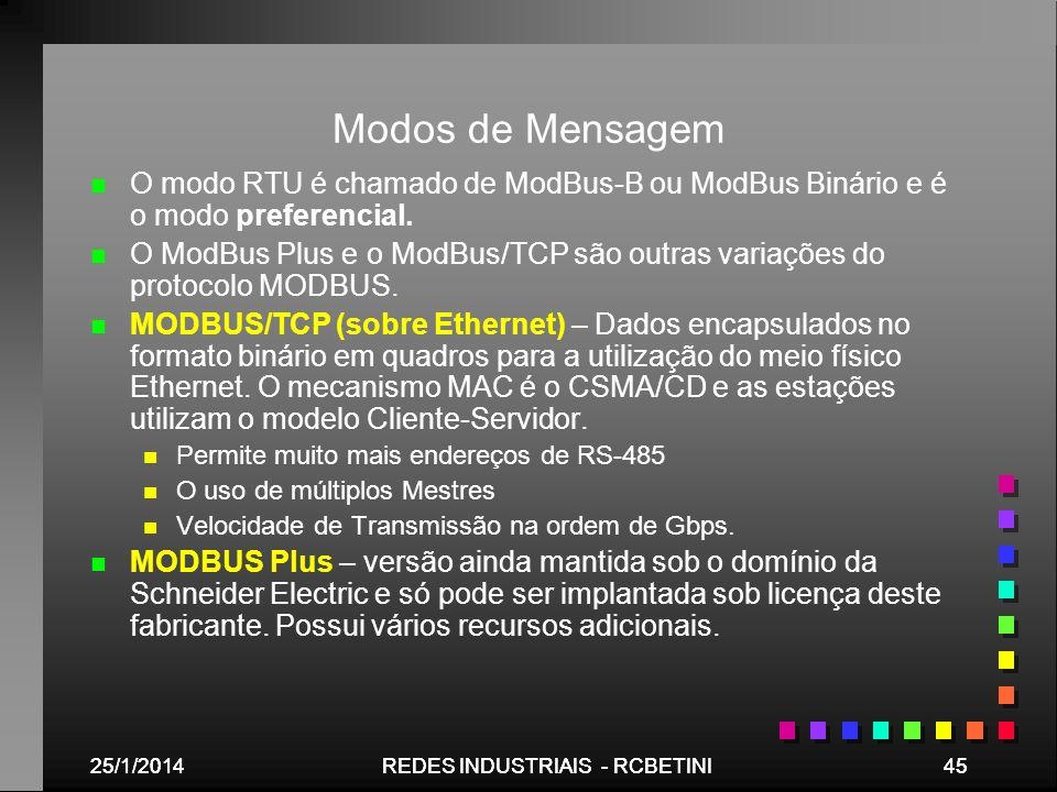 Modos de Mensagem O modo RTU é chamado de ModBus-B ou ModBus Binário e é o modo preferencial.