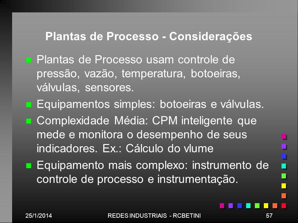 Plantas de Processo - Considerações