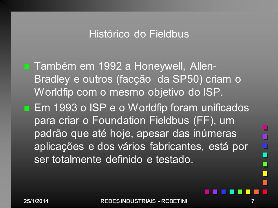 Histórico do Fieldbus Também em 1992 a Honeywell, Allen-Bradley e outros (facção da SP50) criam o Worldfip com o mesmo objetivo do ISP.