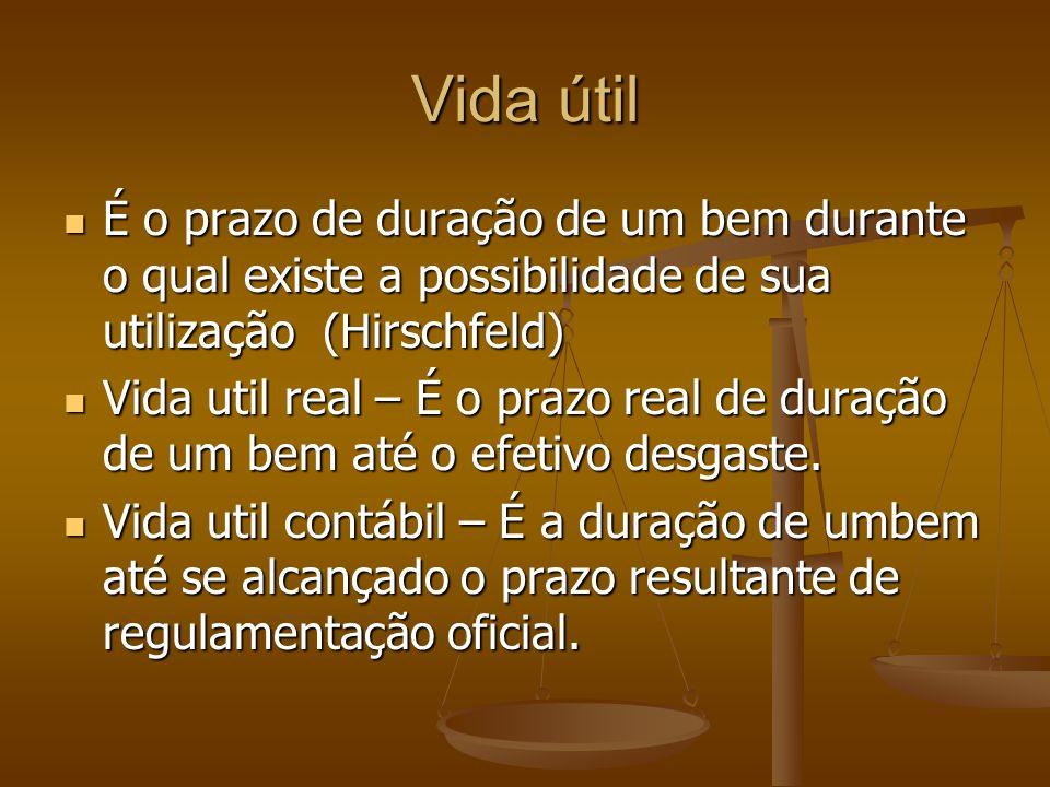Vida útil É o prazo de duração de um bem durante o qual existe a possibilidade de sua utilização (Hirschfeld)