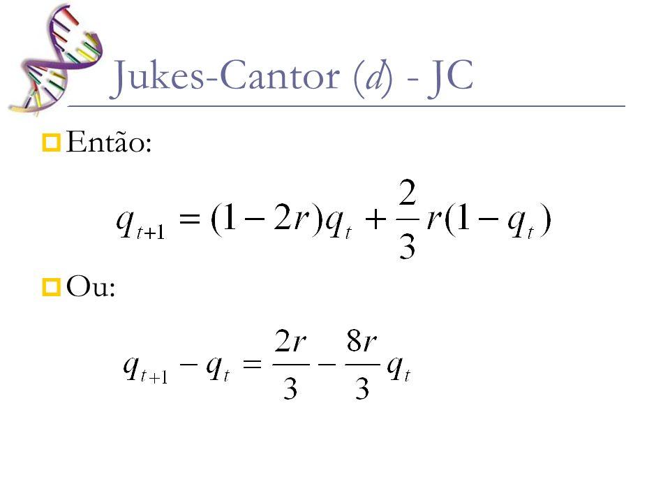 Jukes-Cantor (d) - JC Então: Ou: