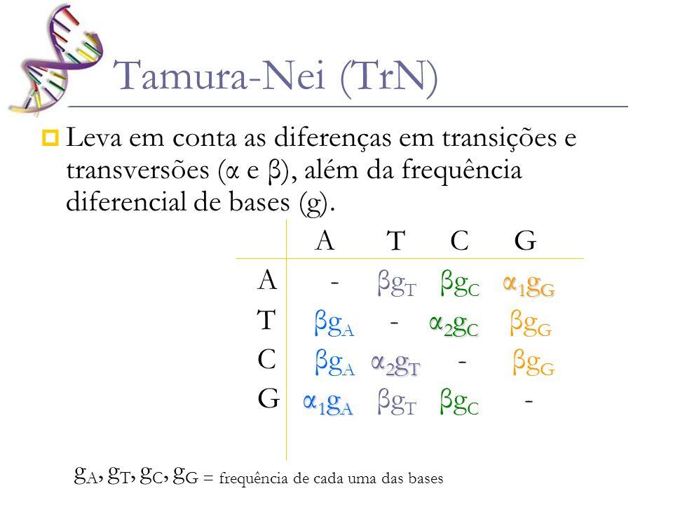 Tamura-Nei (TrN) Leva em conta as diferenças em transições e transversões (α e β), além da frequência diferencial de bases (g).