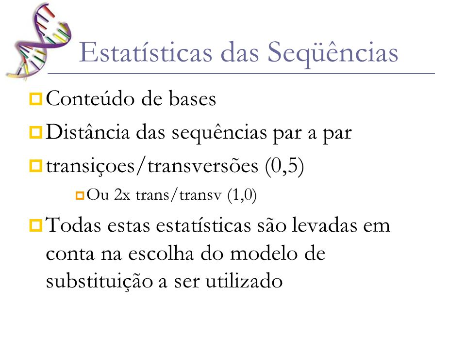 Estatísticas das Seqüências