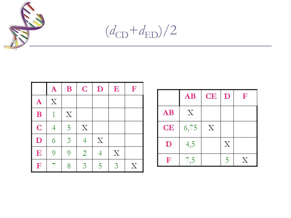 (dCD+dED)/2 A B C D E F X 1 4 5 6 3 9 2 7 8 AB CE D F X 6,75 4,5 7,5 5