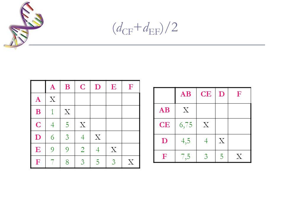 (dCF+dEF)/2 A B C D E F X 1 4 5 6 3 9 2 7 8 AB CE D F X 6,75 4,5 4 7,5