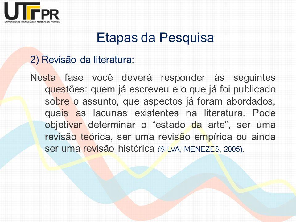 Etapas da Pesquisa 2) Revisão da literatura: