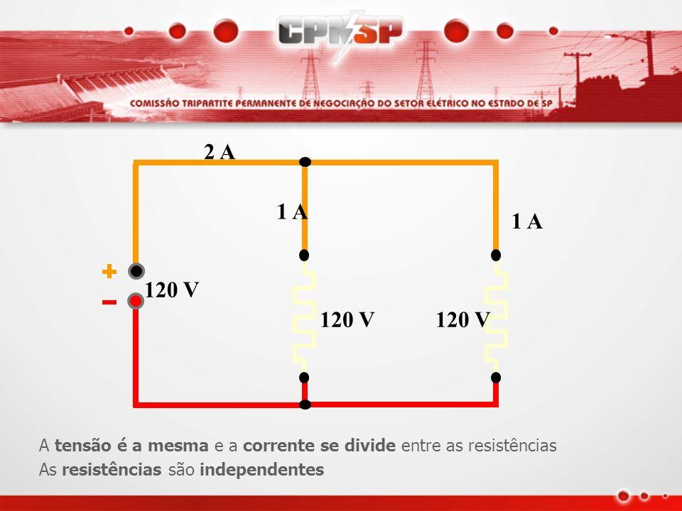 2 A 120 V. 1 A. A tensão é a mesma e a corrente se divide entre as resistências.