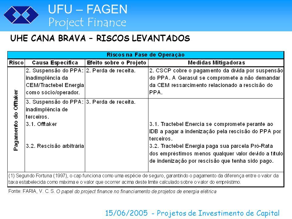 UHE CANA BRAVA – RISCOS LEVANTADOS
