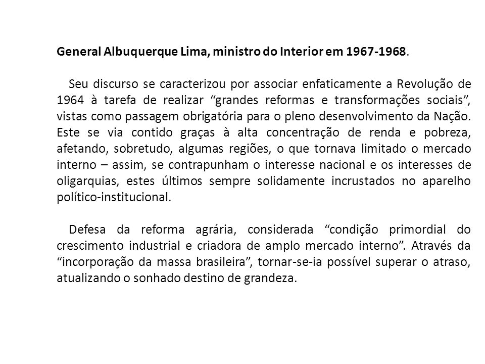 General Albuquerque Lima, ministro do Interior em 1967-1968.