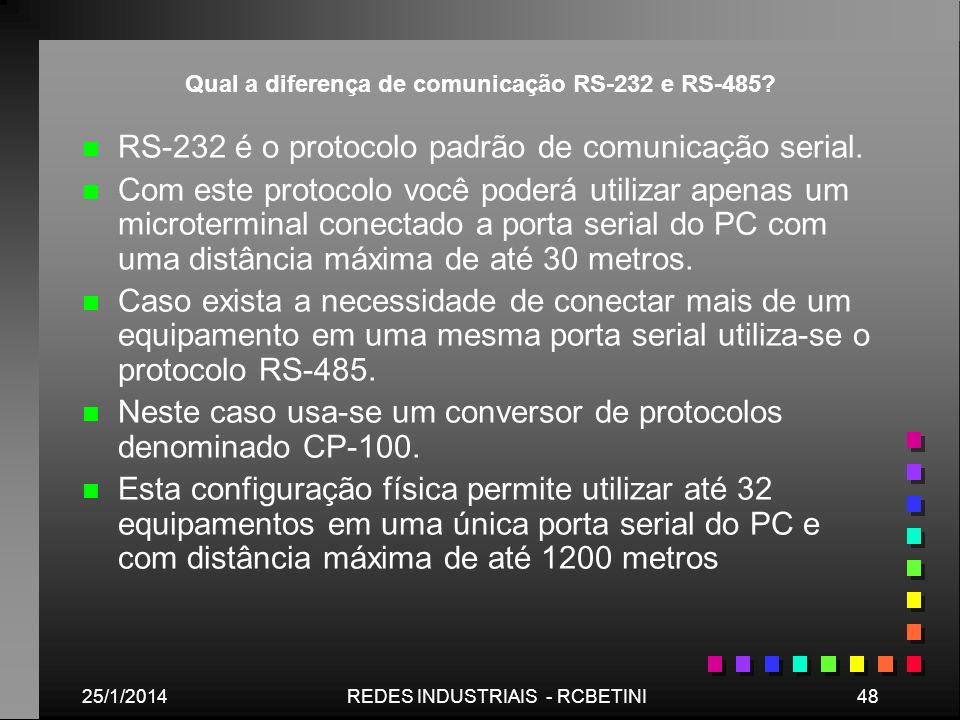 Qual a diferença de comunicação RS-232 e RS-485