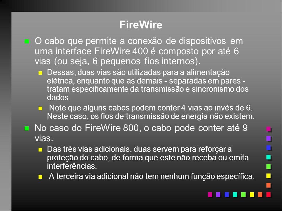 FireWire O cabo que permite a conexão de dispositivos em uma interface FireWire 400 é composto por até 6 vias (ou seja, 6 pequenos fios internos).