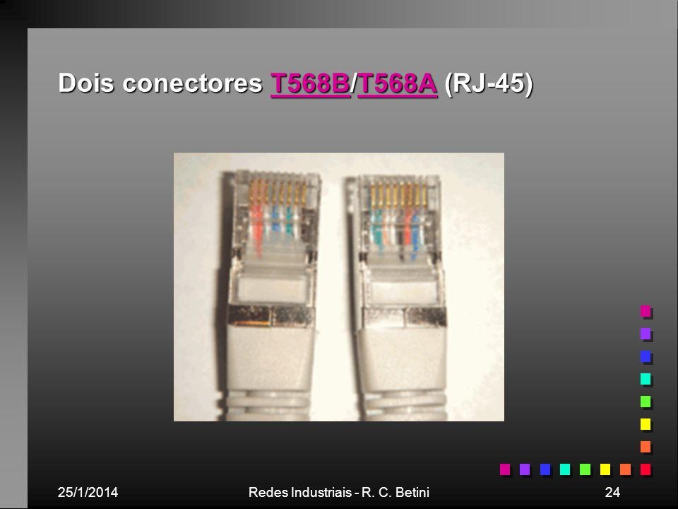 Dois conectores T568B/T568A (RJ-45)