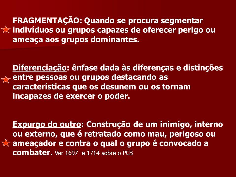 FRAGMENTAÇÃO: Quando se procura segmentar indivíduos ou grupos capazes de oferecer perigo ou ameaça aos grupos dominantes.