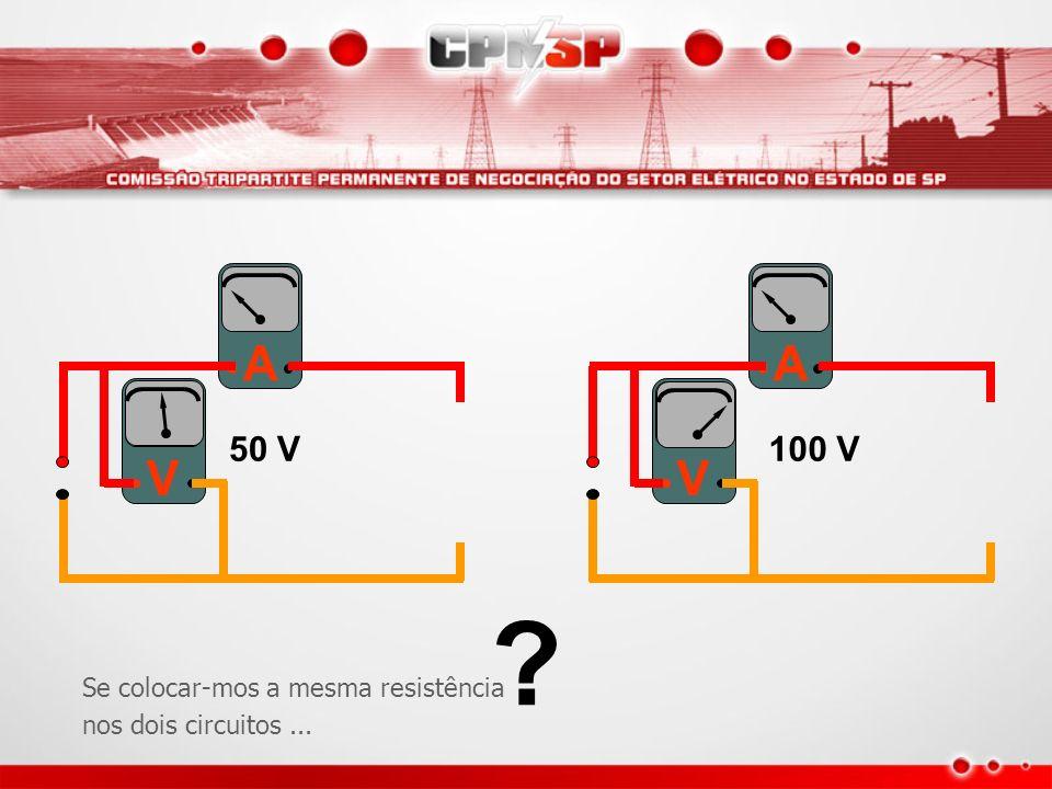 A A V V 50 V 100 V Se colocar-mos a mesma resistência