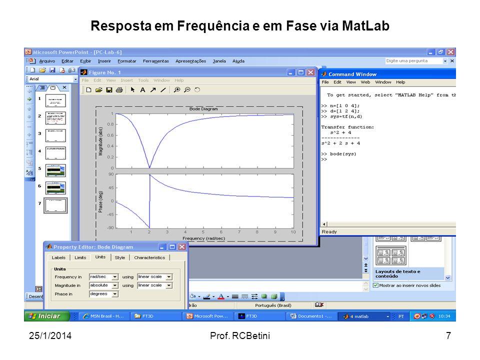 Resposta em Frequência e em Fase via MatLab
